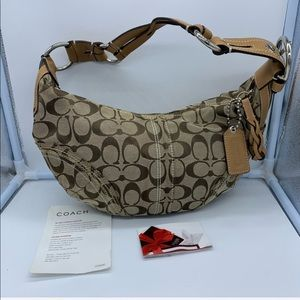 COACH brown canvas signature hobo K0694-10600